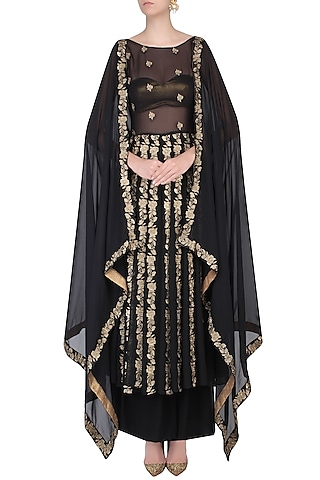 Black Cape Sleeves Floral Embroidered Kalidaar Kurta With Skirt by Dimple Raghani