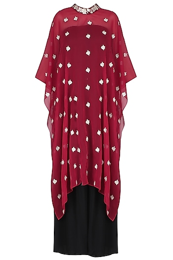 Red Floral Embroidered Cape With Black Palazzo Pants by Dimple Raghani
