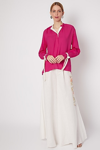 Fuchsia Chinese Collared Shirt by Dilnaz Karbhary