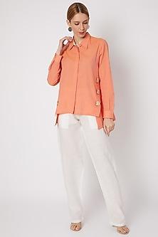 Orange Cotton Boxy Shirt by Dilnaz Karbhary