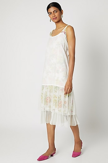 White Slip With Adjustable Straps by Dilnaz Karbhary