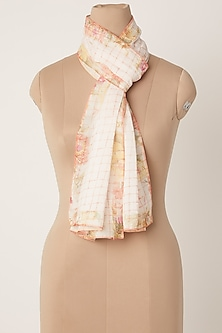 Blush Pink Screen Printed Stole by Dilnaz Karbhary