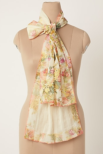 Yellow Floral Print Stole by Dilnaz Karbhary