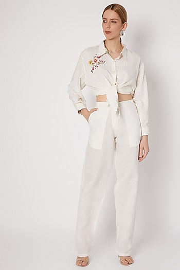 Ivory Pants With Drawstring by Dilnaz Karbhary