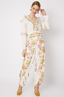 White Printed Top With Ruffles by Dilnaz Karbhary