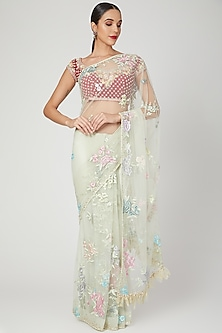 Mint Green Embroidered Saree Set by Dilnaz Karbhary