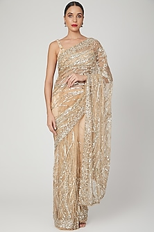 Nude Embroidered Saree Set by Dilnaz Karbhary