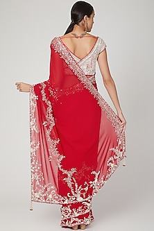 Red Embroidered Saree Set by Dilnaz Karbhary