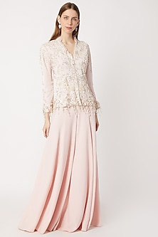 Light Pink Embroidered Jacket With Flared Pants by Dilnaz Karbhary