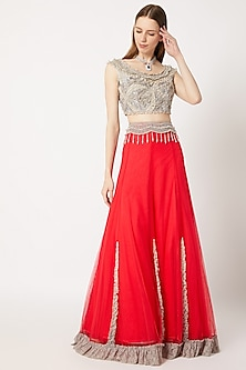 Red Ruffled Lehenga Skirt with Grey Embroidered Blouse by Dilnaz Karbhary
