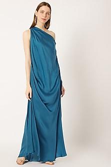 Indigo Blue Draped Dress by Dilnaz Karbhary