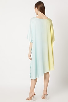 Yellow & Blue Pleated Tunic by Dilnaz Karbhary