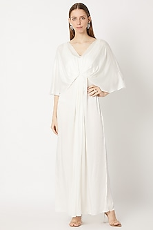 Ivory Draped & Pleated Gown by Dilnaz Karbhary