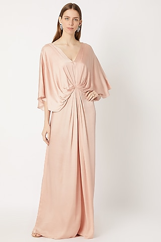 Mushroom Beige Draped & Pleated Gown by Dilnaz Karbhary