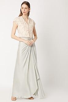 Light Grey Pleated Satin Skirt by Dilnaz Karbhary