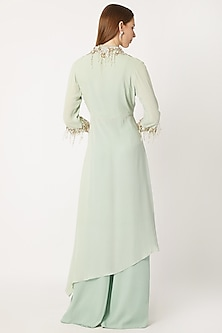Jade Green Embroidered Kurta With Flared Pants by Dilnaz Karbhary