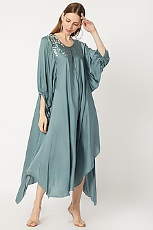 Slate Grey Poof Sleeved & Embroidered Tunic by Dilnaz Karbhary