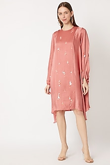 Rose Pink Embroidered Tunic by Dilnaz Karbhary