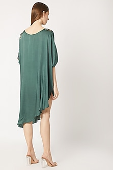 Bottle Green Embroidered & Cinched Tunic by Dilnaz Karbhary