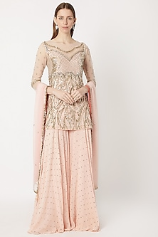 Pale Pink Embroidered Sharara Set by Dilnaz Karbhary