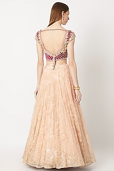 Peach Embroidered Lehenga Set by Dilnaz Karbhary