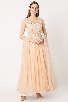 Peach Embroidered Anarkali Set by Dilnaz Karbhary