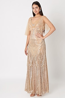 Nude Embroidered Flapper Gown by Dilnaz Karbhary
