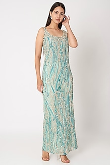 Sky Blue Embroidered Gown by Dilnaz Karbhary