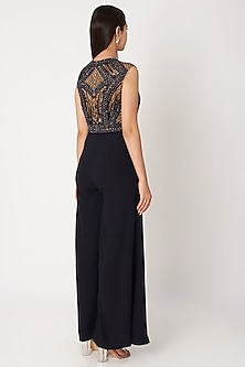 Navy Blue & Nude Embroidered Jumpsuit by Dilnaz Karbhary