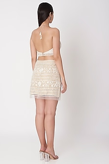 Ivory Embroidered Halter Crop Top by Dilnaz Karbhary