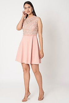Peach Embroidered Flared Dress by Dilnaz Karbhary