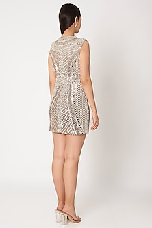 Silver Grey Embroidered Dress by Dilnaz Karbhary