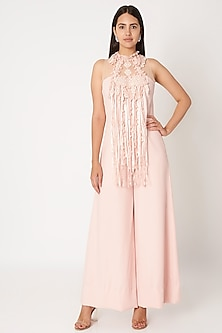 Blush Pink Embroidered Jumpsuit by Dilnaz Karbhary