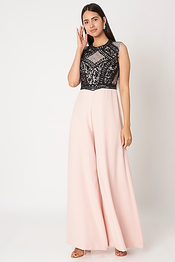 Blush Pink & Black Embroidered Jumpsuit by Dilnaz Karbhary