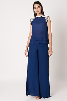 Navy Blue Embroidered Top With Pants by Dilnaz Karbhary