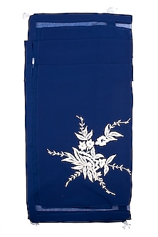 Navy Blue Embroidered Scarf by Dilnaz Karbhary
