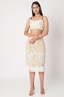White Embroidered Crop Top by Dilnaz Karbhary