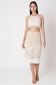 Beige Floral Embroidered Skirt by Dilnaz Karbhary