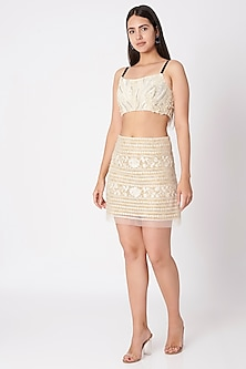 Beige Embroidered Tennis Skirt by Dilnaz Karbhary