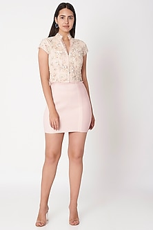 Rose Pink Embroidered Crop Top by Dilnaz Karbhary