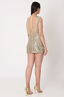 Nude Sequins Embroidered Dress by Dilnaz Karbhary
