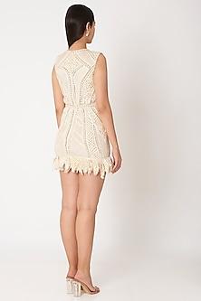 Ivory Embroidered Fringe Dress by Dilnaz Karbhary