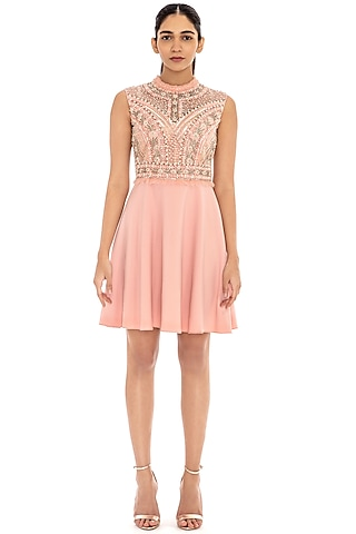 Soft Blush Pink Embroidered Flared Dress by Dilnaz Karbhary