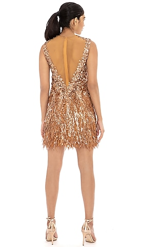 Copper Embroidered Bodycon Dress by Dilnaz Karbhary