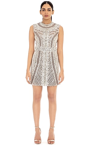 Dove Grey Embroidered Bodycon Dress by Dilnaz Karbhary