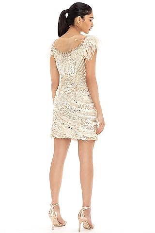 Ivory Sequins Embroidered Bodycon Dress by Dilnaz Karbhary