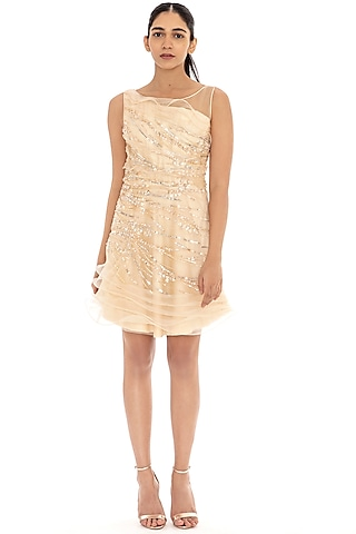 Light Sorbet Ruffled Embroidered Dress by Dilnaz Karbhary