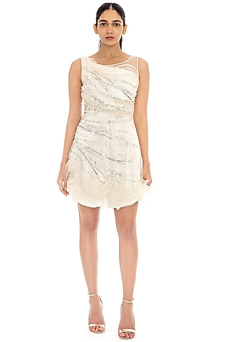 Ivory Ruffled Embroidered Dress by Dilnaz Karbhary