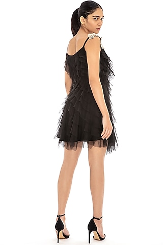 Black Ruffled Embroidered Dress by Dilnaz Karbhary