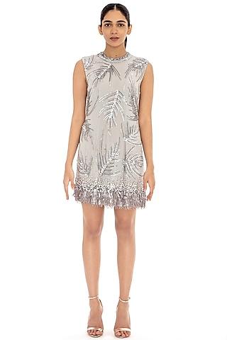 Slate Grey Embroidered Shift Dress by Dilnaz Karbhary